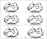 Personalized Solid Sterling Silver Infinity Ring with 18K GP heart detail - Cardina Jewels - 4