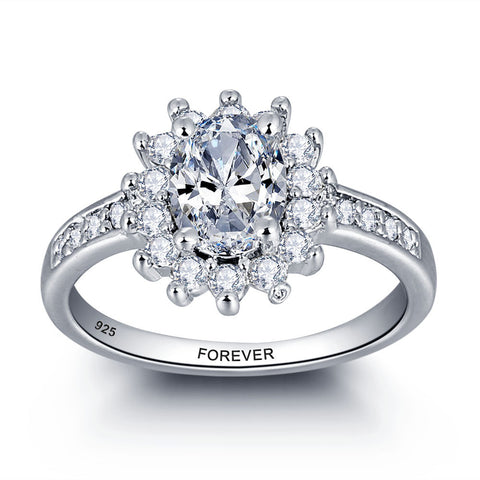 Personalized Solid Sterling Silver Engagement ring adorned with CZ stones - Cardina Jewels - 1