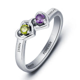 Personalized Solid Silver Ring, Dual Hearts design with Choice of Birthstone colors - Cardina Jewels - 2