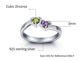 Personalized Solid Silver Ring, Dual Hearts design with Choice of Birthstone colors - Cardina Jewels - 3