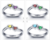 Personalized Solid Silver Ring, Dual Hearts design with Choice of Birthstone colors - Cardina Jewels - 4