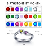 Personalized Solid Silver Ring, Dual Hearts design with Choice of Birthstone colors - Cardina Jewels - 5