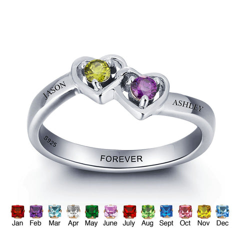 Personalized Solid Silver Ring, Dual Hearts design with Choice of Birthstone colors - Cardina Jewels - 1
