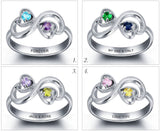 Personalized Solid Silver Ring, Infinity hearts design with Choice of Birthstone colors - Cardina Jewels - 4