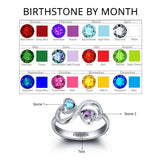 Personalized Solid Silver Ring, Infinity hearts design with Choice of Birthstone colors - Cardina Jewels - 5