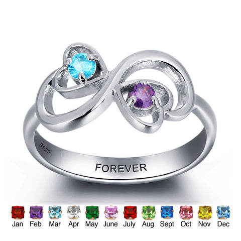 Personalized Solid Silver Ring, Infinity hearts design with Choice of Birthstone colors - Cardina Jewels - 1