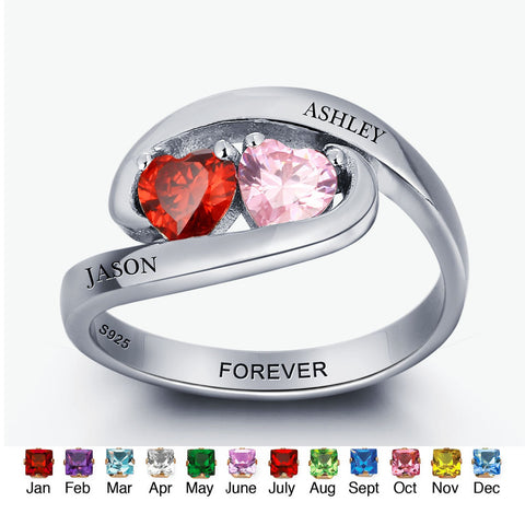 Personalized Solid Silver Ring, Twist design with Choice of Birthstone colors - Cardina Jewels - 1