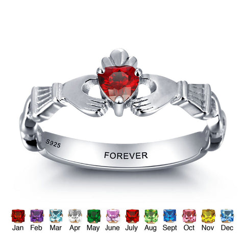 Personalized Solid Silver Ring, Heart in hands design with Choice of Birthstone colors - Cardina Jewels - 1