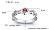 Personalized Solid Silver Ring, Engagement design with Choice of Birthstone color - Cardina Jewels - 3
