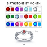 Personalized Solid Silver Ring, Engagement design with Choice of Birthstone color - Cardina Jewels - 5