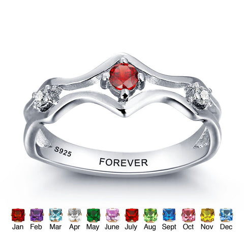 Personalized Solid Silver Ring, Engagement design with Choice of Birthstone color - Cardina Jewels - 1