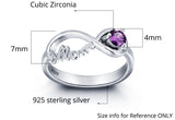 Personalized Solid Silver Ring, Mom design with Choice of Birthstone color - Cardina Jewels - 3