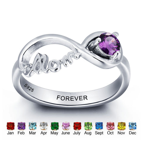 Personalized Solid Silver Ring, Mom design with Choice of Birthstone color - Cardina Jewels - 1