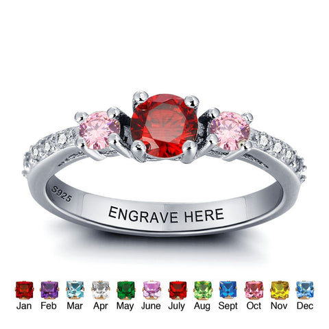 Personalized Solid Silver Ring, 3 Stone Engagement design with Choice of Birthstones color - Cardina Jewels - 1