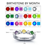Personalized Solid Silver Ring, 3 Stone Engagement design with Choice of Birthstones color - Cardina Jewels - 2