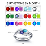 Personalized Solid Silver Ring, Dual heart twist design with Choice of Birthstones color - Cardina Jewels - 2