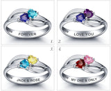 Personalized Solid Silver Ring, Dual heart twist design with Choice of Birthstones color - Cardina Jewels - 3