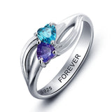 Personalized Solid Silver Ring, Dual heart twist design with Choice of Birthstones color - Cardina Jewels - 4