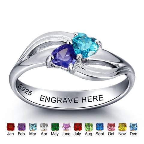 Personalized Solid Silver Ring, Dual heart twist design with Choice of Birthstones color - Cardina Jewels - 1