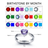 Personalized Solid Silver Ring, Large heart and Dual name design with Choice of Birthstones color - Cardina Jewels - 2