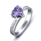 Personalized Solid Silver Ring, Large heart and Dual name design with Choice of Birthstones color - Cardina Jewels - 3