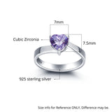 Personalized Solid Silver Ring, Large heart and Dual name design with Choice of Birthstones color - Cardina Jewels - 4