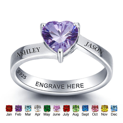 Personalized Solid Silver Ring, Large heart and Dual name design with Choice of Birthstones color - Cardina Jewels - 1