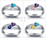 Personalized Solid Silver Ring, Linked band design with Choice of Birthstones color - Cardina Jewels - 5