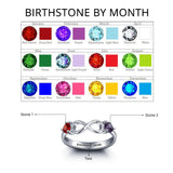 Personalized Solid Silver Ring, Infinity and side stone design with Choice of Birthstones color - Cardina Jewels - 2