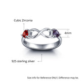 Personalized Solid Silver Ring, Infinity and side stone design with Choice of Birthstones color - Cardina Jewels - 4