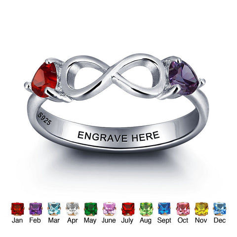 Personalized Solid Silver Ring, Infinity and side stone design with Choice of Birthstones color - Cardina Jewels - 1