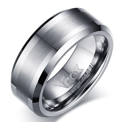 Men's Brushed Silver Design Tungsten Carbide Wedding Ring - Cardina Jewels - 1