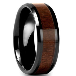 Men's Black Tungsten Carbide Ring with Wood Inlay - Cardina Jewels - 1