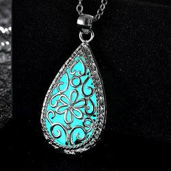 925 Sterling Silver Filled Glow in the dark pendant Waterdrop with filigree design work - Cardina Jewels - 1