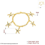 18K RGP in Yellow gold, ladies starfish design charm bracelet - Cardina Jewels - 2