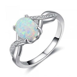 Opal Ring with Crystal Detail