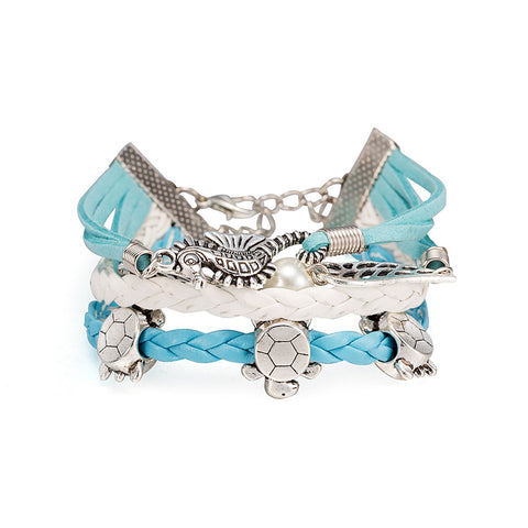 Infinity Wrap Bracelet, Blue Turtle design