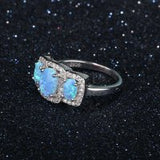 3 Stone Opal Ring with Crystal Detail