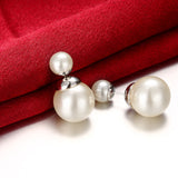18K RGP in white gold, Ladies dior style earrings with white faux pearl detail - Cardina Jewels - 3