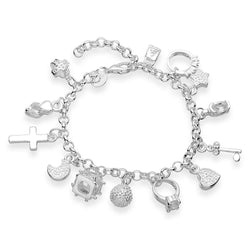 925 Sterling Silver Filled Mixed Charm Bracelet - Cardina Jewels - 1