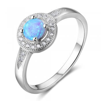 Round Opal Ring with Crystal Detail