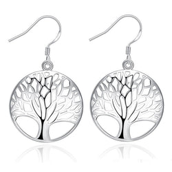 925 Sterling Silver filled Tree of life design earrings - Cardina Jewels - 1