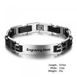 Men's Engraved Personalized Stainless Steel Bracelet