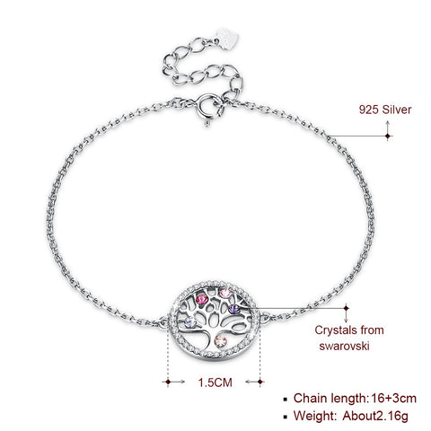 Solid 925 Sterling Silver Tree of Life bracelet with Swarovski Element crystals