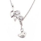 925 sterling silver plated Branch and Bird necklace with chain included - Cardina Jewels - 5