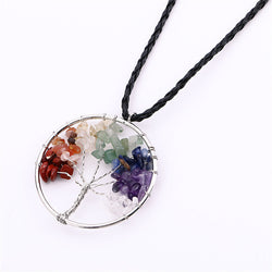 7 Chakra Stone Tree of Life Necklace with Natural stones