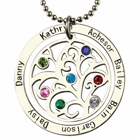 Birthstone Family Tree design personalized necklace, with up to 7 names