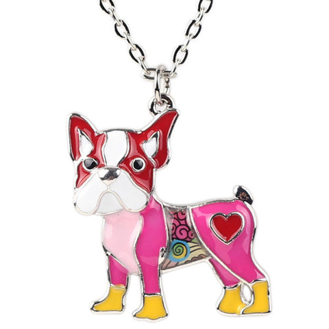 Boston Terrier Design Fashionable enamel Dog Necklace