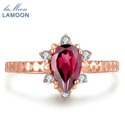 LAMOON 5x7mm 1ct 100% Natural Teardrop Red Garnet Ring 925 Sterling Silver Jewelry Rose Gold Romantic Wedding Band LMRI024