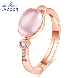 LAMOON 6x8mm 100% Natural Oval Pink Rose Quartz Ring 925 Sterling Silver Jewelry Rose Gold Romantic Wedding Band LMRI014